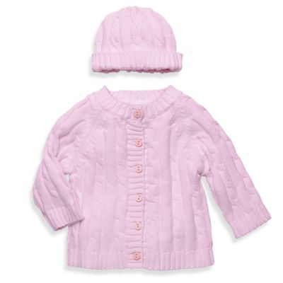 Elegant Baby® Size 12M 2-Piece Cable Sweater Gift Set in Pink