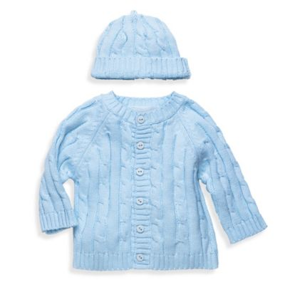 Elegant Baby® Size 6M 2-Piece Cable Sweater Gift Set in Blue
