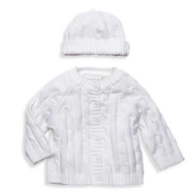 Elegant Baby® Size 6M 2-Piece Cable Sweater Gift Set in White