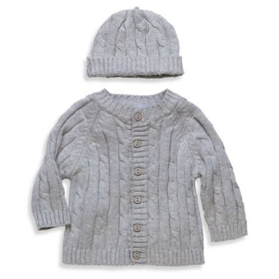 Elegant Baby® Size 6M 2-Piece Cable Sweater Gift Set in Grey