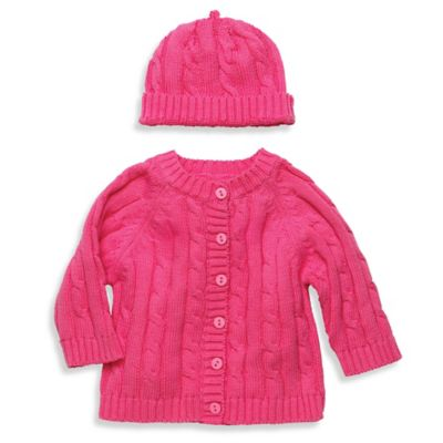 Elegant Baby® Size 12M 2-Piece Cable Sweater Gift Set in Raspberry