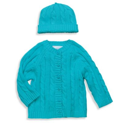 Elegant Baby® Size 6M 2-Piece Cable Sweater Gift Set in Aqua