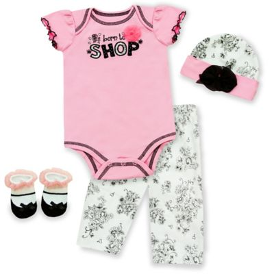 "AD Sutton Baby Essentials 4-Piece ""Born to Shop"" Layette Set"