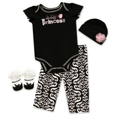 "AD Sutton Baby Essentials 4-Piece ""Daddy's Princess"" Layette Set"