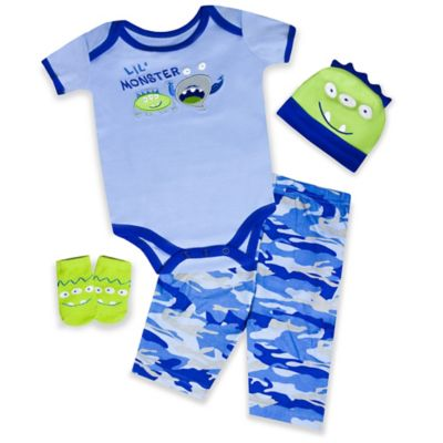 "AD Sutton Baby Essentials 4-Piece ""Lil' Monster"" Layette Set"
