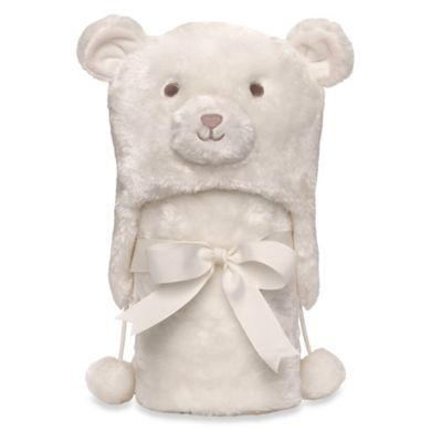 Elegant Baby® Bear Aviator Hat & Blanket Set in Cream
