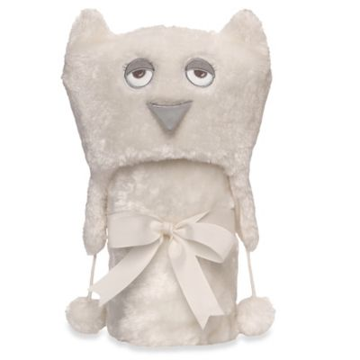 Elegant Baby® Owl Aviator Hat & Blanket Set in Cream