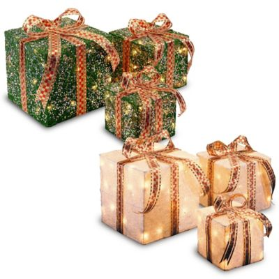 Outdoor Lit Christmas Boxes