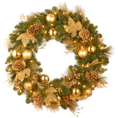 National Tree Decorative Collection 24-Inch Elegance Spruce Christmas Wreath Pre-Lit with 50 Lights