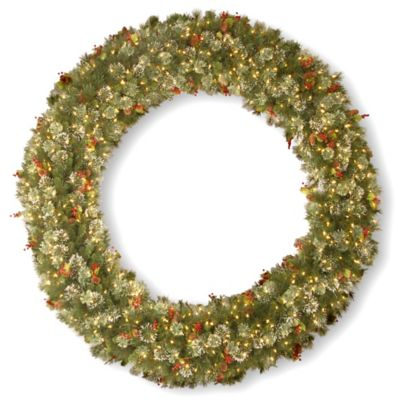 National Tree 7-Foot Wintry Pine Christmas Wreath with Clear Lights