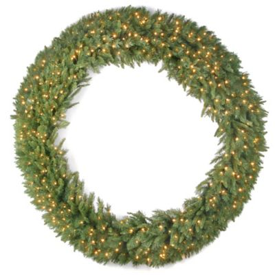 National Tree 6-Foot Tiffany Fir Christmas Wreath with Clear Lights