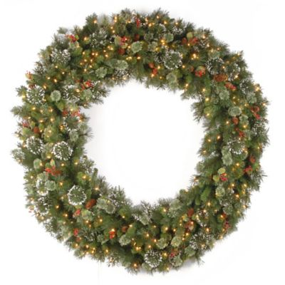 National Tree 5-Foot Wintry Pine Christmas Wreath with Clear Lights