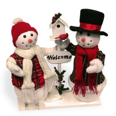 National Tree Plush Collection Snowman Pair Display