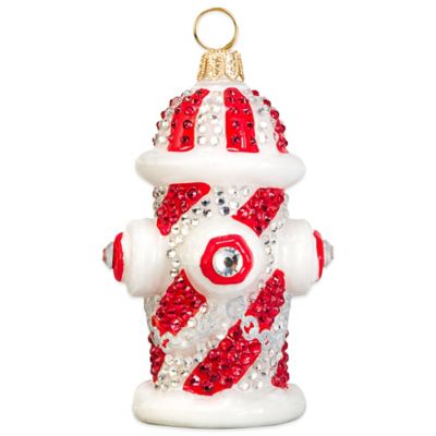 Pet Set Joy to the World Collectibles Candy Cane Crystal Encrusted Fire Hydrant Christmas Ornament