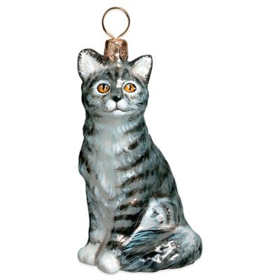 Pet Set Joy to the World Collectibles American Shorthair Grey Cat Christmas Ornament