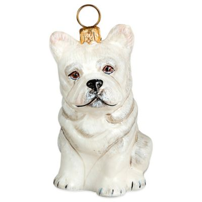 Pet Set Joy to the World Collectibles White French Bulldog Christmas Ornament