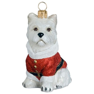 Diva Dog Joy to the World Collectibles Westie Santa Paws Christmas Ornament