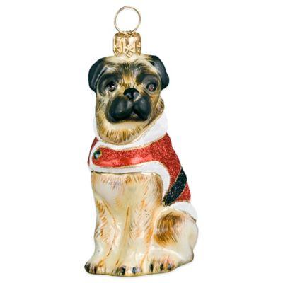 Diva Dog Joy to the World Collectibles Pug Santa Paws Christmas Ornament