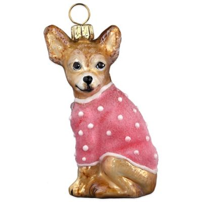 Diva Dog Joy to the World Collectibles Chihuahua with Pink Coat Christmas Ornament