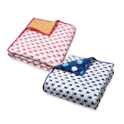 Baby Blankets > Masala Baby Moksha Happy Elephant Reversible Quilt in Navy