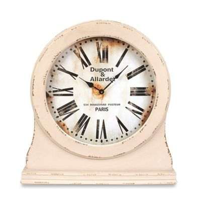 Wood Table Clock in White