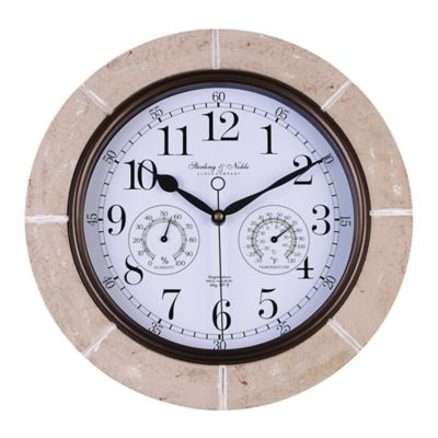 Sterling & Noble Faux Stone Outdoor Wall Clock