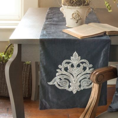 Downton Abbey® Milady Collection Hand-Appliqued Lace Table Runner in Estate Blue