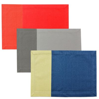 Colorblock Canvas Placemat in Blue/Green
