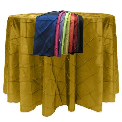 Bombay Diamond-Stitched Pintuck 120-Inch Round Tablecloth in Moss