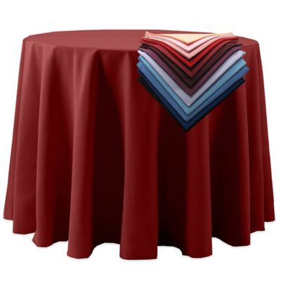 Spun Polyester 132-Inch Round Tablecloth in Red