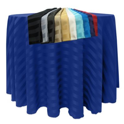 Poly-Stripe 90-Inch Round Tablecloth in Black