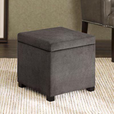Regency Heights® Maddox Small Cube Storage Ottoman in Gunmetal