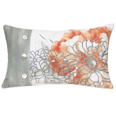 Jessica Simpson Golden Peony Modern Embroidery Floral Oblong Throw Pillow