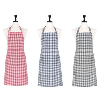 Gingham Woven Apron in Black