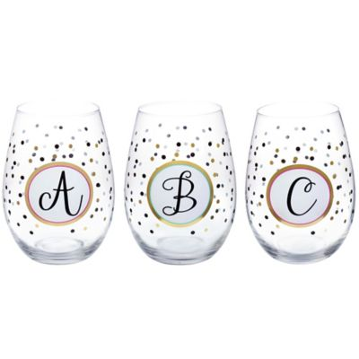 "Stemless Monogram Letter A"" Wine Glass"