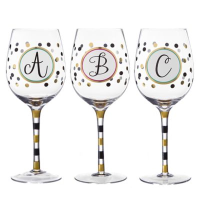 "Monogram Letter ""K"" Wine Glass"