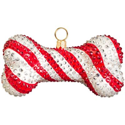 Pet Set Joy to the World Collectibles Candy Cane Crystal Encrusted Dog Bone Christmas Ornament