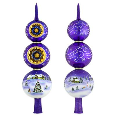 Joy to the World Collectibles Silent Night Christmas Finial in Purple and Gold