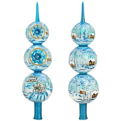 Joy to the World Collectibles Russian Troika Christmas Ornaments Finial in Blue