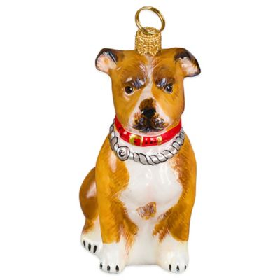 Pet Set Joy to the World Collectibles Tan American Staffordshire Terrier Christmas Ornament