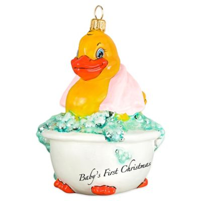 Joy the World Collectibles Baby's First Rubber Ducky Christmas Ornament with Pink Towel