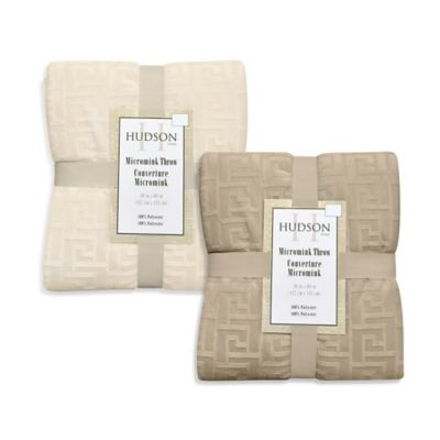 Hudson Micromink Reversible Throw in Ivory