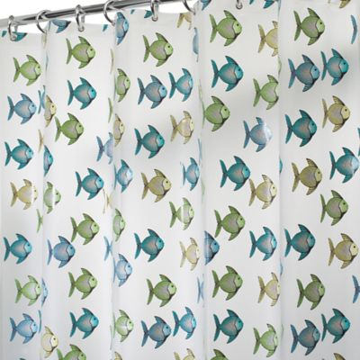 InterDesign® PEVA Fishy Shower Curtain in Blue/Green