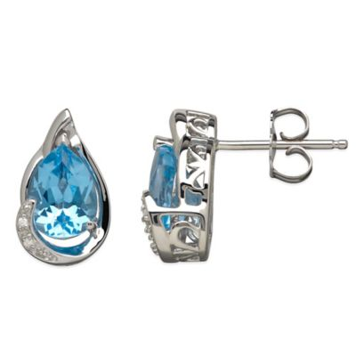 Sterling Silver .01 cttw Diamond and Blue Topaz Pear-Shape Stud Earrings