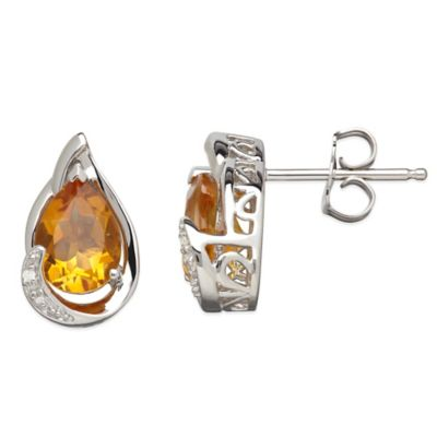 Sterling Silver .01 cttw Diamond and Citrine Pear-Shape Stud Earrings