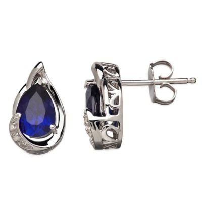 Sterling Silver .01 cttw Diamond and Lab-Created Sapphire Pear-Shape Stud Earrings