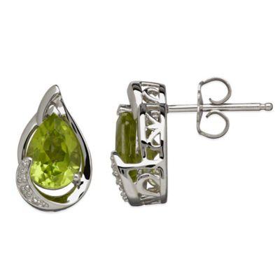 Sterling Silver .01 cttw Diamond and Peridot Pear-Shape Stud Earrings