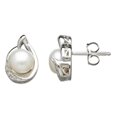 Sterling Silver .01 cttw Diamond and 7mm Round Freshwater Cultured Pearl Pear-Shape Stud Earrings