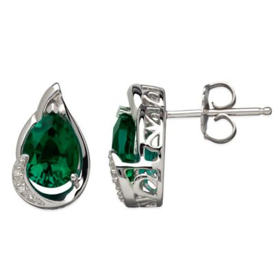 Sterling Silver .01 cttw Diamond and Lab-Created Emerald Pear-Shape Stud Earrings