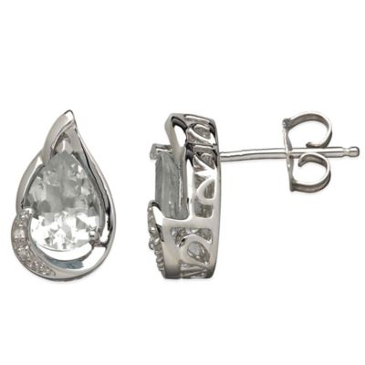 Sterling Silver .01 cttw Diamond and White Topaz Pear-Shape Stud Earrings